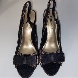 Fioni night lace slingback open toes bows heels